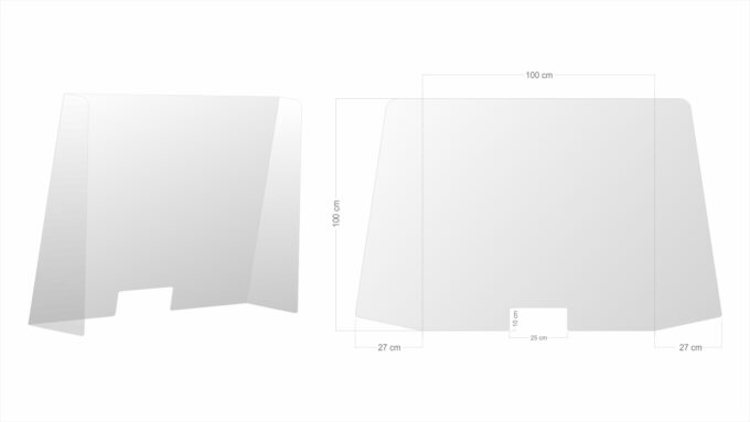 osłona plexi z otworem na blat- szyba ochronna-XL